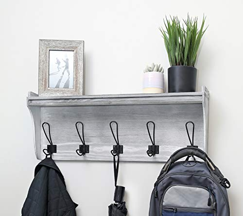Seremeo Wall Mounted Coat Rack Shelf – Rustic Grey or Black 26 Entryway Shelf with 5 Coat Hooks - Solid Pine Wood - Ideal for Your Entryway Mudroom Bathroom Laundry and More