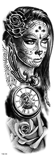Reloj Y Mapa Mujer Todos Los Brazos 17X48cm-3Pcs Tatuajes Temporales A Prueba De Agua Brazo Cuello Cara Variedad Pequeños Tatuajes Temporales A Prueba De Agua Para Hombres Mujeres Adultos