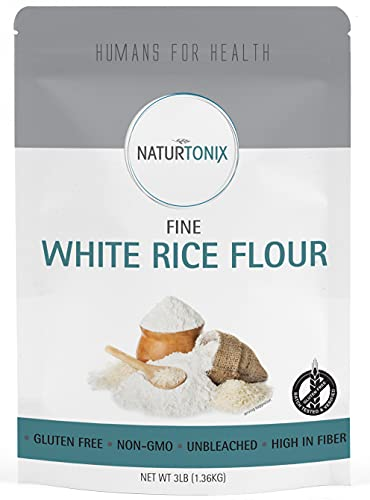 Naturtonix White Rice Flour, 3 LB Resealable Pouch, Gluten Free, Non GMO and Certified Kosher