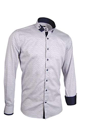 Giorgio Capone Herrenhemd, weiß mit dezentem floralen Muster in dunkelblau, 100% Baumwolle, Slim/Normal & Regular-Plus Fit (L Slim/Normal)