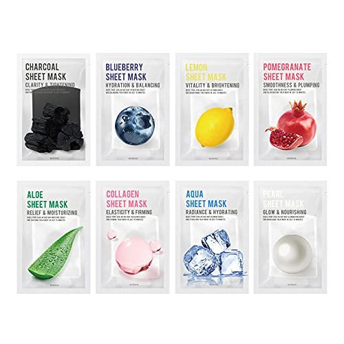 Eunyul, [CONFEZIONE DA 8] EUNYUL Purity Maschera in fogliPack 8 tipi 22ml x 8 pezzi Korean Skincare Ingredienti naturali idratanti e nutrienti e purificanti per tutti i tipi di pelle