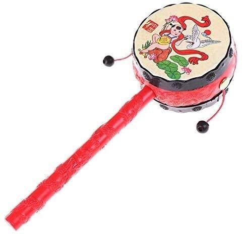 Detazhi Musical Beat Instrument Hand Trommel Kinder Kinder Musikalische Holztrommel Rattles Pädagogisches Spielzeug (Farbe: 1 stücke zufällig) (Color