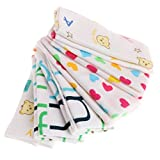 6 toallas de dibujos animados para bebé, pañuelo, baño y alimentación facial, paño de limpieza