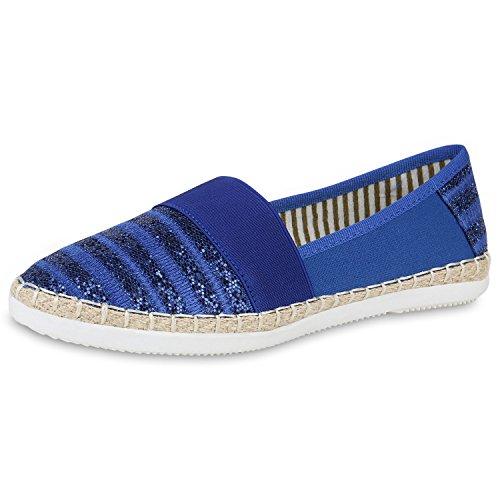 SCARPE VITA Espadrilles Damen Bast Slipper Glitzer Flats Strand Schuhe 160643 Blau Bast 38