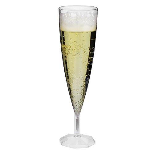 bar@drinkstuff Lot de 12 flûtes à champagne en plastique transparent 140 ml