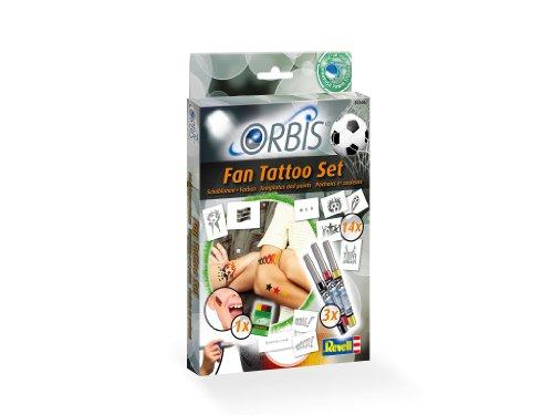 Orbis Airbrush, Orbis Tattoo-Set Deutschland Fan Set, Orbis Airbrushfarben für die Haut, mit Tattoo-Farbpartonen, selbstklebenden Motiven, Schminkstift, Dermatologisch getestet, schwarz rot gelb 30306
