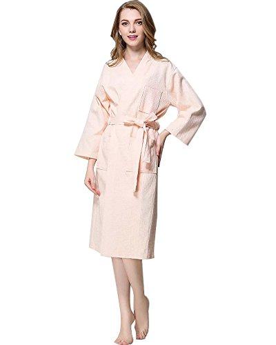 Minetom Femme Coton Gaufré Peignoir De Bain Confortable Légère Pyjama Chemise De Nuit Col V Kimono Enveloppant Robe De Chambre Spa Sauna Rose FR 46