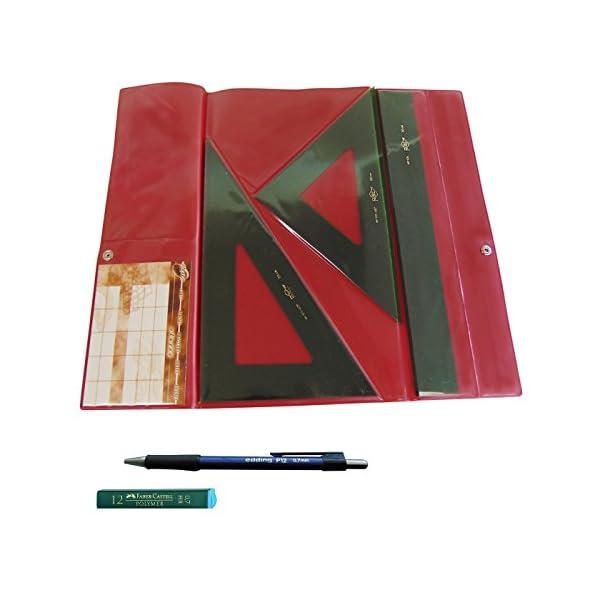 Faibo Pack Lote Estuche técnico Verde Juego Compuesto por Regla 30 cm GRADUADA, escuadra y cartabón de 25 cm SIN GRADUAR + Portaminas Edding P12 + 1 Tubo de 12 Minas Faber Castell 0.7 mm HB