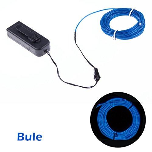 wawer 3m impermeabile LED striscia flessibile fune metallica tubo Neon Luce Dance Party Decor auto sorgente di corrente: 2pezzi AA Batterie (non incluse)