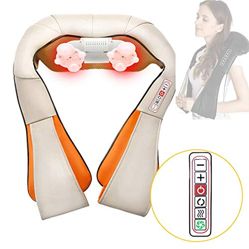 ZHHID Neck Massager Pillow, Shiatsu Neck & Back Massager with Heat, Neck Pain Relief Devices, Suitable for Home Office and Car, Best Gift for Parents,Beige