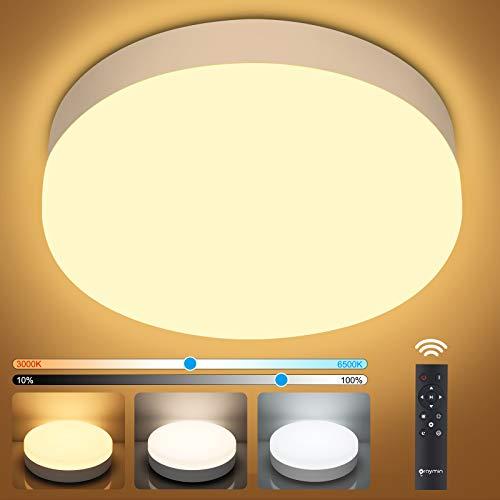 18W LED Deckenleuchte Dimmbar, IP54 LED Deckenlampe dimmbar mit Fernbedienung, Helligkeit und Farbtemperatur einstellbar, Oraymin Wohnzimmerlampe Kinderzimmerlampe Schlafzimmerlampe 3000k-6500k