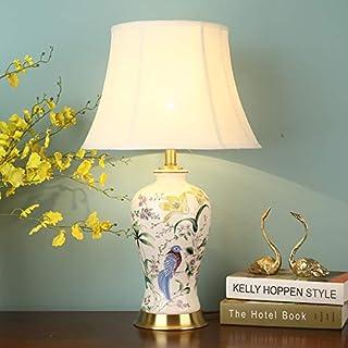 Zenghh Artesanal pintado American Country lámpara de mesa, cerámica Hecho a mano chino Mesilla de noche de luz, blanco elegante esmalte Metal Tank Holder dormitorio de la lámpara de doble entrada for