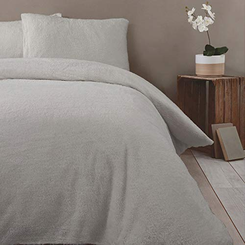 Rapport Teddy Bear Luxurious Super Soft Warm Quilt Duvet Cover Bed Set, Silver, Single