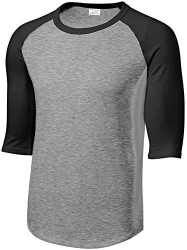 Joe's USA Mens Cotton/Poly 3/4 Sleeve Baseball Tee, XL,Heather Grey/Black
