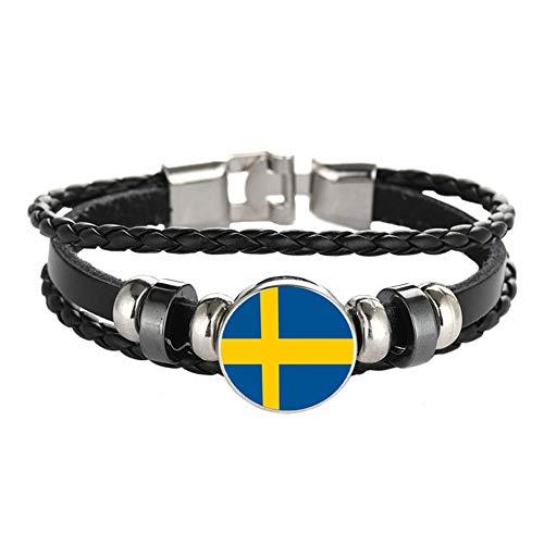 Armband im Nationalflaggen-Stil, kreatives Schweden-Reise-Souvenir, Geschenk, personalisiertes gewebtes Armband, Zubehör für Damen & Herren