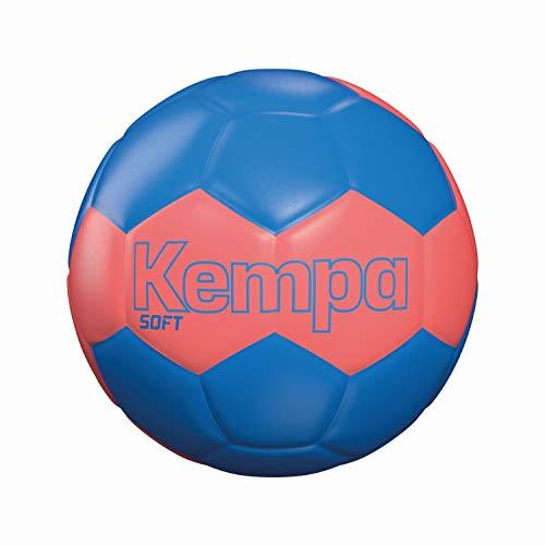 Balón de Balonmano Kempa Soft, Rojo Flúor/Azul, Mediano
