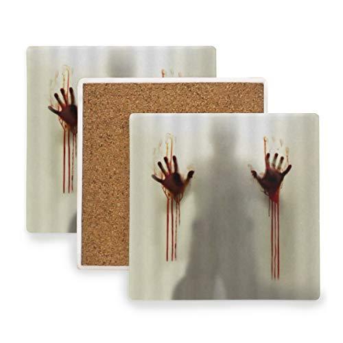 PANILUR Halloween Horror blutiger Handabdruck flockiger Schatten helfen Mir Geist klassisches kreatives Cooles abstraktes Vintages,Untersetzer Saugfähige Keramik,für Tassen Tisch Bar Glas(1 Packs)