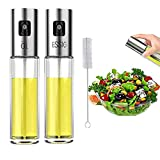 Nifogo Dispensador de Pulverizador de Aceite 2 Pcs, Oil Sprayer 100 ML Vinagre/Aceite de Oliva de Acero Inoxidable Botella de Vidrio para Herramienta de Cocina cocinar (2pcs)