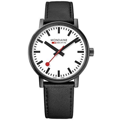 Mondaine Evo2 - Reloj de Cuero Negro para Hombre y Mujer, MSE.40111.LB, 40 MM