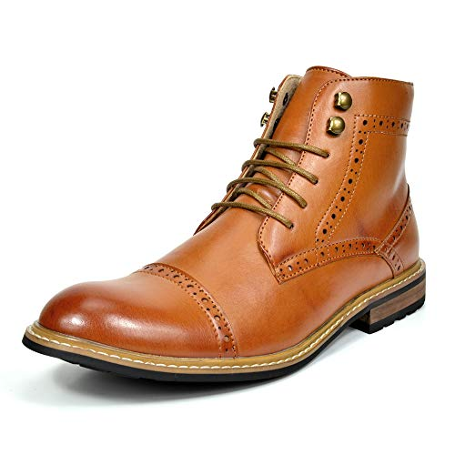 Bruno MARC BERGEN-03 Men's Formal Classic Notched Lace Up Perforated Leather Lined Ankle High Oxford Dress Boots BROWN SIZE 10