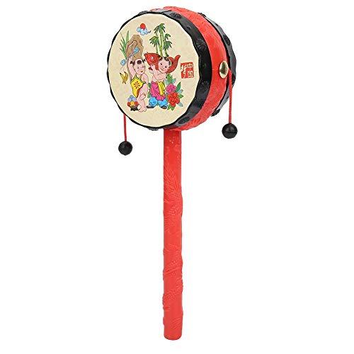 Zerodis Tambor de traqueteo de Juguete Tradicional Chino Rojo, Juguetes Infantiles de Dibujos Animados clásicos de la Primera Infancia Instrumento Musical Educativo para niños