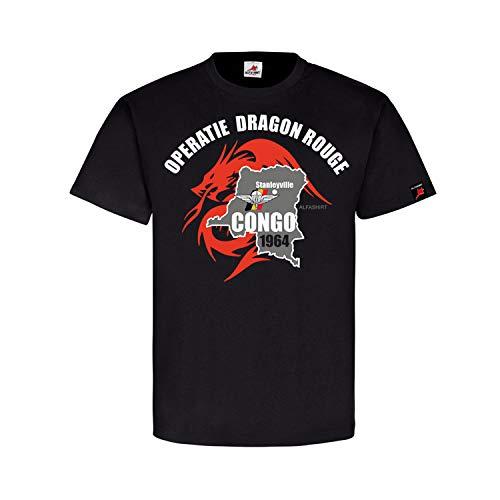 Operatie Dragon Rouge Stanleyville para Commando Brigade Cong T-Shirt #31561, Größe:S, Farbe:Schwarz