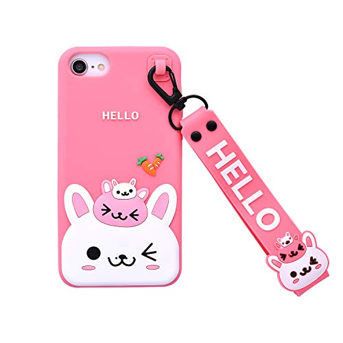 Bunny Case for iPhone SE 2020 Case,iFunny Cute 3D Cartoon Kawaii Radish Rabbit Shockproof Soft Silicone Rubber Case with Wrist Strap for iPhone SE 2020/6 6S 7 8(4.7inch) (Radish Rabbit Pink)
