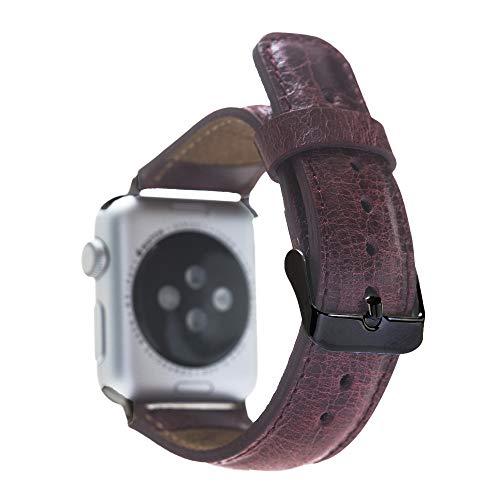 Renna - Pulsera de piel auténtica compatible con Apple Watch Serie SE, 6 y 5/4/3/2/1, hecha a mano, 44 mm, 42 mm, 40 mm, 38 mm, para hombre y mujer (38 – 40 mm, burdeos, conector negro)