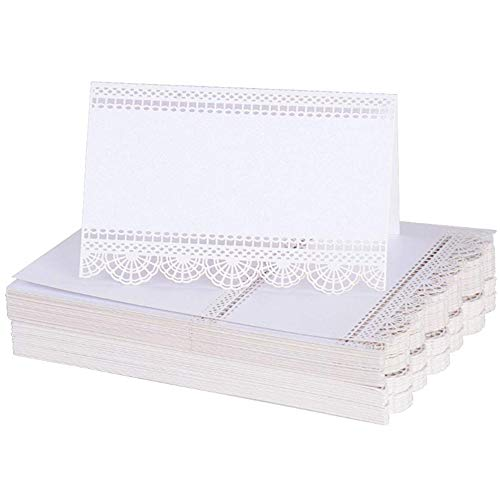 nuluxi Weiß Tischkarten Platzkarten Sitzkarte Platzkarten Namensschild Weiß Namenskärtchen Tischkärtchen Geeignet für Geburtstag Hochzeit Taufe Party Weihnachten Tischkärtchen Sitzkarte-Weiß,50 Blatt