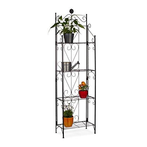 Relaxdays Blumenregal Metall 4 Ablagen, klappbar, witterungsfest, als Pflanzenregal, HxBxT: 157 x 44 x 24 cm, schwarz