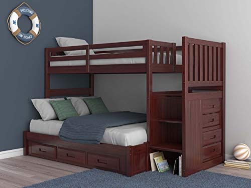 Mission Twin Over Full Staircase Bunk Bed with 3 Drawers in Merlot Finish