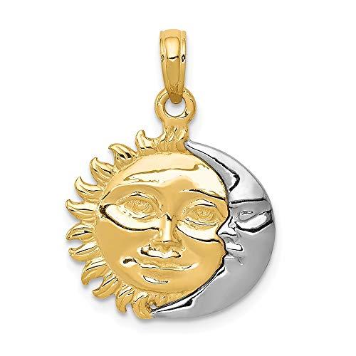 14ct Two-silberfarben poliert 3-Dimensional Sun Moon Pendelleuchte - Maße 24 x 28 mm - JewelryWeb
