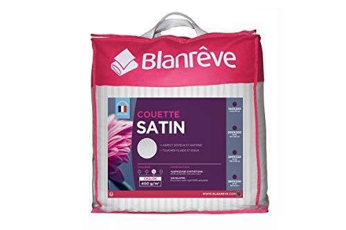 blanrêve Chaude Satin Rayé-400g/m² -200x200 cm Couette, Microfiber, Blanc, 200 CM x 200 CM