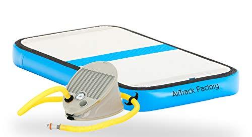 AirTrack Factory AirBoard Aufblasbare Turnmatte Tumblingmatte Trainingsboard Trainigsmatte Sportmatte Gymnatikboard mit Fußpumpe (Blau)