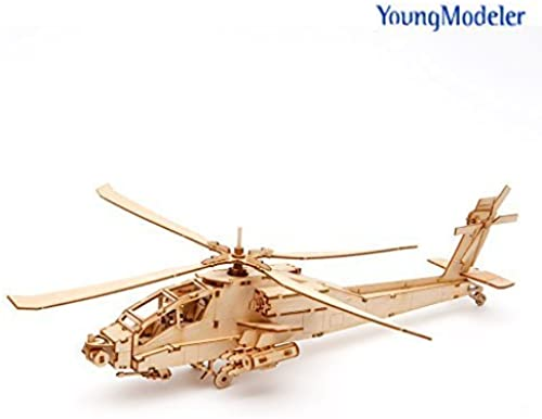 [YOUNGMODELER] Wooden Model Kit AH-64 Apache Helicopter by Young Modeler