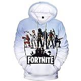 ComicCosplay Fnite Sweatshirt Hoodie w/Pocket | 3D Print Sublimation Design Pullover (White, Large)