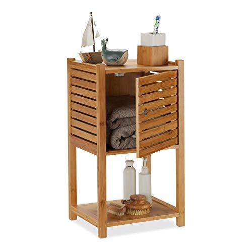 Relaxdays Badregal Bambus, 2 Ablagen & 1 Fach mit Tür, Bad & Küche, schmal, klein, Badmöbel HBT 62,5 x 35 x 29 cm, natur