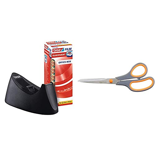 tesa Easy Cut Curve Tischabroller (einfache Handhabung, sauberer Schnitt mit 8 Rollen tesafilm transparent 33m x 19mm) & AmazonBasics Schere mit weichem Griff, 20cm, Titan-Scherenblätter, 1 Stück