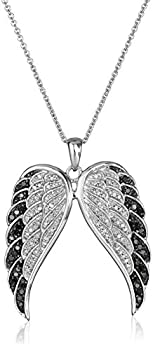 Sterling Silver Black and White Diamond Angel Wings Pendant Necklace  1/2 cttw  18