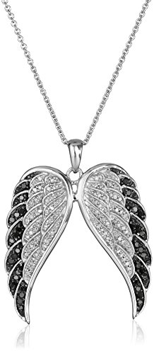 """Sterling Silver Black and White Diamond Angel Wings Pendant Necklace (1/2 cttw), 18"""""""