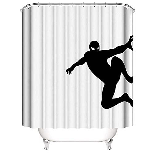 Tenda da Doccia Superman uomo ragno Tenda da Doccia Antimuffa Tenda da Doccia per Bagno Poliestere Impermeabile più Spesso Tenda da Doccia Lavabile con 12 Anelli Doccia 180x200cm
