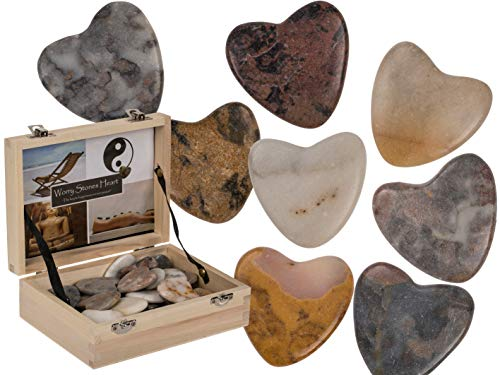 MC Trend Corazón de piedra natural Worry Hearts, amuleto de la suerte, idea de regalo, amigos, cumpleaños, prueba