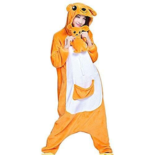 Itopfox Unisex Adult Animal Pajamas - Kangaroo One Piece Plush Cosplay Onsies Sleepwear Small
