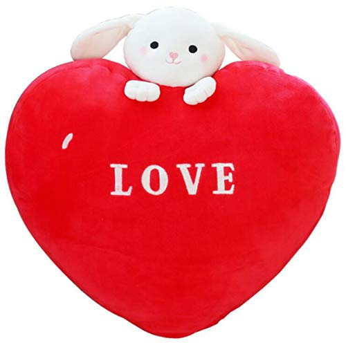 Ruzucoda Plush Bunny Love Heart Shape Pillow Cushion Toys Gifts for Girlfriend Wife 15.7 Inches Red
