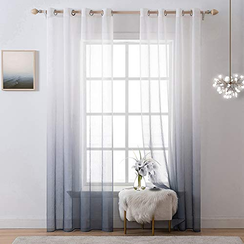 MIULEE 2 Vorhänge aus Leinen, durchscheinend, mit Ösen, halbdurchsichtig, Farbverlauf, für Schlafzimmer, Wohnzimmer, Ombré-Grau, 137 x 183 cm