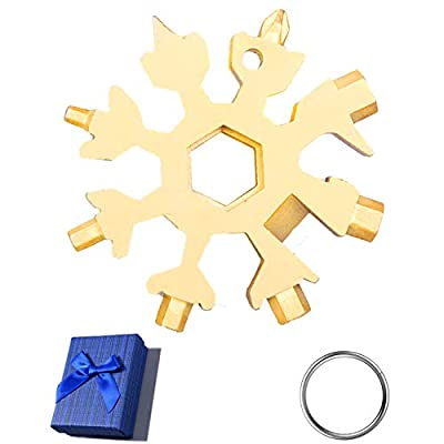 Yiflin 18-in-1 Snowflake Multitool, Stainless Steel Snowflake Tool Snowflake Bottle Opener/Flat Phillips Screwdriver Kit/Wrench, Durable and Portable to Take, Great Christmas Gift with Gift Box