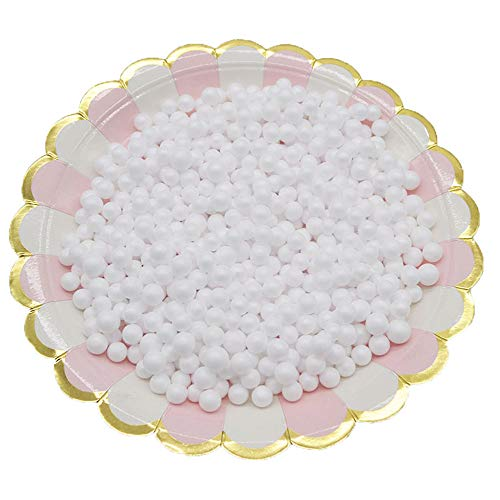 Foam Beads for DIY Slime 2 Packs Micro Polystyrene Styrofoam Balls for Arts Crafts Wedding Party Decoration (8mm White)