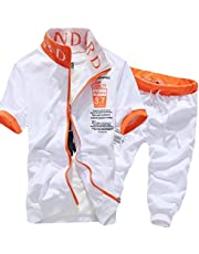 GAGA Mens Tracksuit Short Sleeve Top Shorts Summer Sport 2 Piece Suit Set