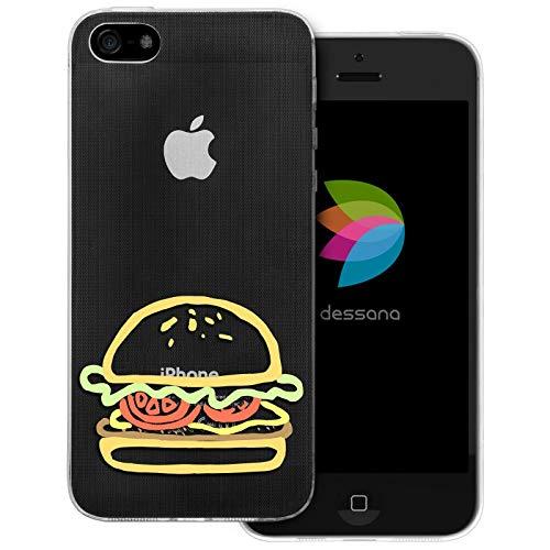 dessana Comic Food transparante beschermhoes mobiele telefoon case cover tas voor Apple, Apple iPhone 5/5S/SE, Burger Amerika