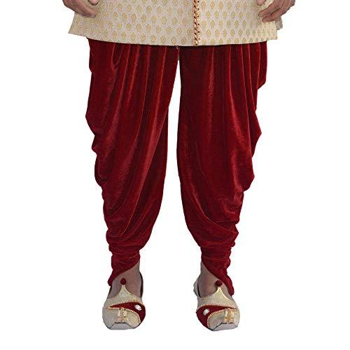 Krypmax Men's Velvet Solid Harem Dhoti Pants for Sherwani & Indowestern (Maroon Color, Free Size)